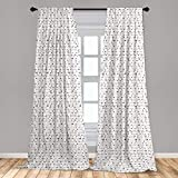 Lunarable Arrow 2 Panel Curtain Set, Old Traditional Tribal Style Arrow in Boho Style Art Print, Lightweight Window Treatment Living Room Bedroom Decor, 56' x 63', White and Black