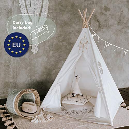 Tipi Dreamin Kinderzelt für Jungen und Mädchen - Tolles Indianer Tipi Zelt für Kinder aus Baumwolle und Naturholz - Perfekt fürs Kinderzimmer, drinnen und draußen - Teepee mit Bodenmatte