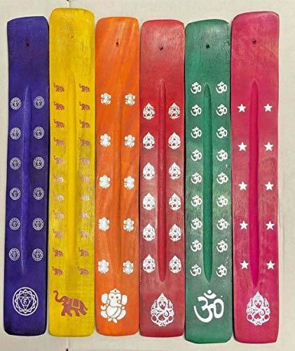 UK Emporium Colourful Wooden Incense Stick Holder Ash Catcher Wood Joss...