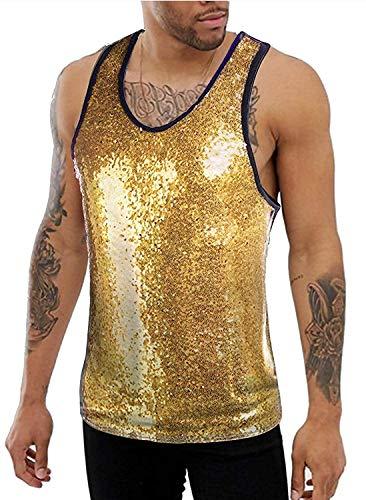 Unibelle 70er Jahre Herren Pailletten Metallic Glänzend Sequin Glitzer Kostüm Tops für Party Cosplay Nachtclub Disco Tanzen Gold, M