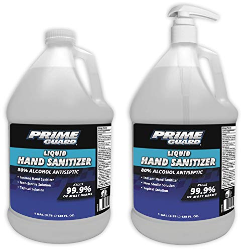 Prime Guard Alcohol Anti-Septic Liquid Instant Hand Sanitizer with Hand Pump, 1 Gallon, Pack of 2