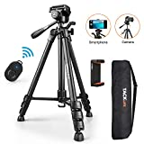 Tripod, 60-Inch Aluminum Camera/Phone/Travel Tripod, Max Load of 11 Lbs, 360 Degree Swivel with Wireless Bluetooth Remote, Universal Smartphone Mount, 1/4 Inch Screw Mount, Portable Bag - MLT02