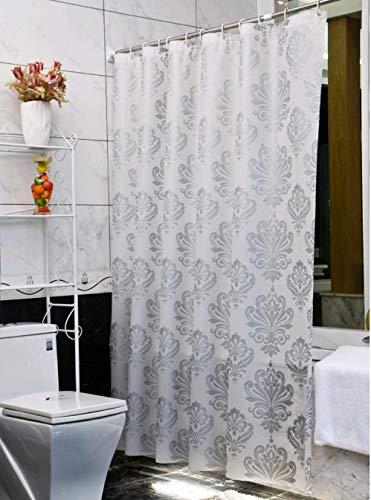 Ufelicity Duschvorhang, europäischer Stil, wasserdicht, 91,4 x 182,9 cm, umweltfreundlich, PEVA, Anti-Schimmel, mit Haken für Duschkabine, Silbergrau