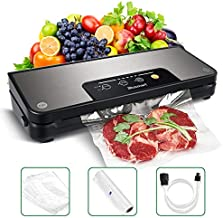 Vacuum Sealer Blusmart 80Kpa Stainless Steel Food Sealer Machine Air Sealing Systemfor Food Saver Storage with Dry and Moist Modes Starter Kit with Holder, Roll/Bags & Hose