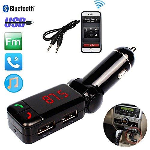 REALMAX® Bluetooth MP3 Player Trasmettitore FM Kit vivavoce con doppio caricatore USB per iPhone HTC Samsung Blackberry Sony Nokia LG (Nero)