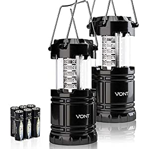 Vont 2 Pack LED Camping Lantern, Super Bright Portable Survival Lanterns, Must Have During Hurricane, Emergency, Storms, Outages, Original Collapsible Camping Lights/Lamp (Batteries Included)