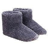 Woorea Zapatos de Calefacción de Suela Blanda,Zapatos de Invierno con USB para Pies,Zapatillas Eléctricas Cálidas de Felpa,Botas Recargables Abrigadas