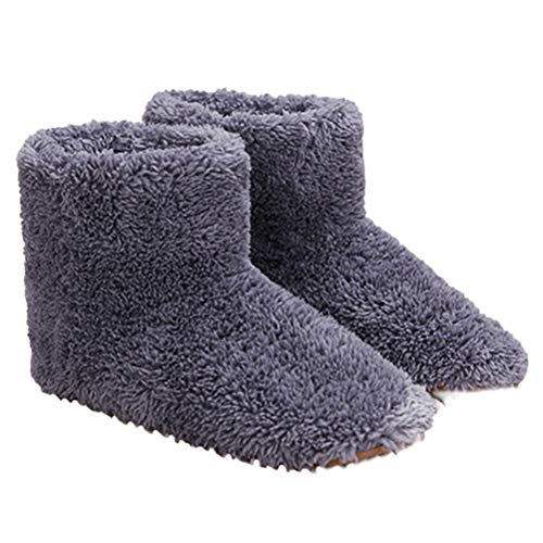 Holspe Fußwärmer, Beheizte Fußwärmer wärmende Heizschuhe, 1 Paar Männer/Frauen beheizt Booties Slipper, USB Fußwärmer für Winter Büro Heizung Hausschuhe Schuhe,Pink,Grau