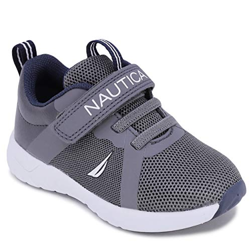 Nautica Kids Boys Girls Fashion Sneaker Athletic Running Shoe with Stap for Toddler and Little Kids-Jurnee Toddler-Grey Tonal-6