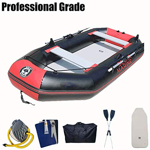 Inflatable Kayak 2 Person Sea Sports Waterproof Inflatable Boat with Hard Floor in, Black red,230 * 128cm