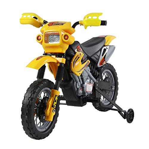 HOMCOM Moto Electrica Infantil Bateria 6V Recargable Niños 3-6 Años Cargador y Ruedas Apoyo Color Amarillo