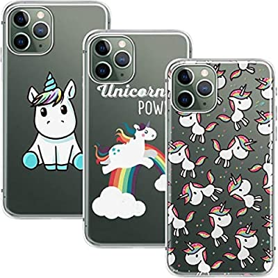 Young & Ming Funda para iPhone 11 Pro MAX, (3 Pack) Transparente TPU Silicona Carcasa Delgado Antigolpes Resistente, Unicornio