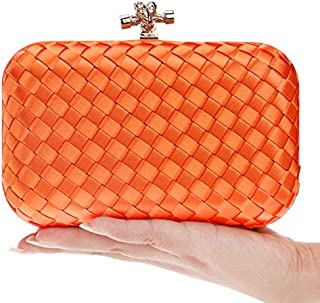 Women's Evening Clutch Bag Shoulder Handbag Messenger Purse Bags for Bridal Party Prom Wedding,Orange,6 * 16 * 10cm