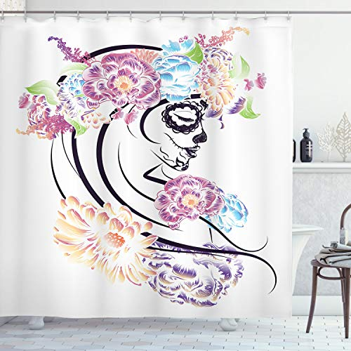 Ambesonne Skull Shower Curtain, Dramatic Skull Girl in Colorful Floral Veil Down Day of The Dead Lady Sadness Print, Cloth Fabric Bathroom Decor Set with Hooks, 75' Long, Pink Blue