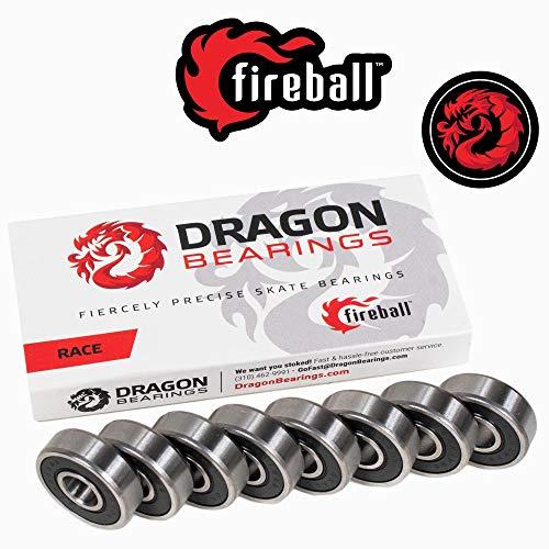 Fireball Dragon Precision Skateboard Bearings | 608 Bearing for Skateboards, Longboards, Inline Skates, Roller Skates, Spinners (Race, 8-Pack)