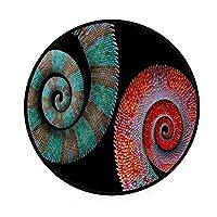 ZHIMI ラグマット 円形ラグ 低反発 丸いカーペット ランネル絨毯 直径92cm 滑り止め付 抗菌防ダニ ウォッシャブル チェアマット 洗える 床暖房対応 柔らかい 部屋の飾り 美しい色のカメレオンの尾 ベビー遊びマット