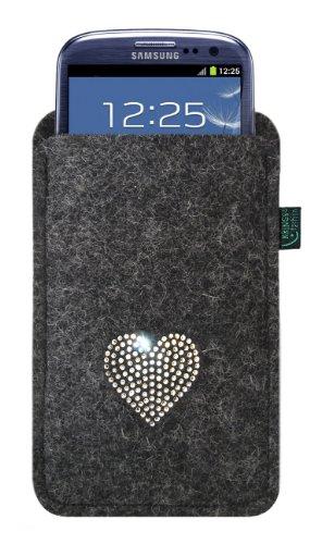 Funda de fieltro para samsung galaxy S3, antracita, corazón de SWAROVSKI, 100% fieltro; Se adapta perfectamente al Galaxy S3! <br> Apto para samsung Galaxy Nexus, HTC One S, HTC One X, HTC One XL, HTC Sensation XL, Motorola Razr y Nokia Lumia 900