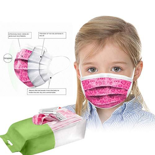 PPangUDing 50/100 Stück Mundschutz Kinder Mundbedeckung,3-lagig,Multifunktionstuch Bandanas mit Niedlich Druck Mund und Nasenschutz Bedeckung Halstuch für Jungen und Mädchen