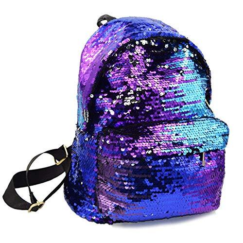 Geekbuzz Girls Sequin Backpack Glitter Bling Rucksack School Women Sparkle Casual Daypack (Blue)