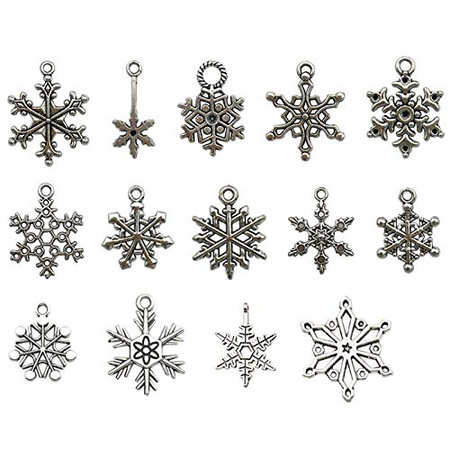 Charms fiocco di neve vintage Ciondoli in argento misto fiocco di neve Charm fiocco di neve di Natale può essere usato come ornamento per lalbero di Natale o come ornamento per bracciali e collane