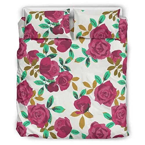 Ainiteey Flowers kühlend 3-teiliges Bett-Set Steppdecken-Set pflegeleicht und faltenfrei Kostenlose für Jungen Red Rose White 264x229cm