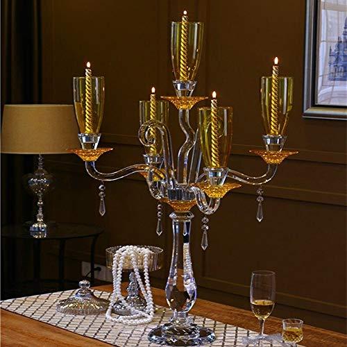 Kaarsenstandaarden Grote Crystal Hurricane Gold Kaars Kandelaar for de bruiloft tabel centerpieces Decor 90cm Demontabel Glass Kandelaar Kandelaar
