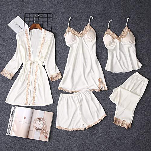 YUHOOE Pijamas Mujer,Conjuntos De Pijamas De Verano para Mujer 5 Piezas De Encaje Satinado Ropa De Dormir Bordado De Seda Femenina Ropa De Casa Ropa De Hogar Con Almohadillas para EL Pecho