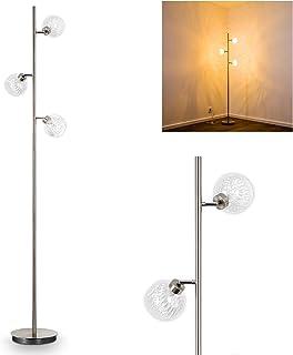 Lampadaire Iskuras en métal/nickel mat - Luminaire à 3 lampes pivotantes individuellement - avec interrupteur au pied sur ...