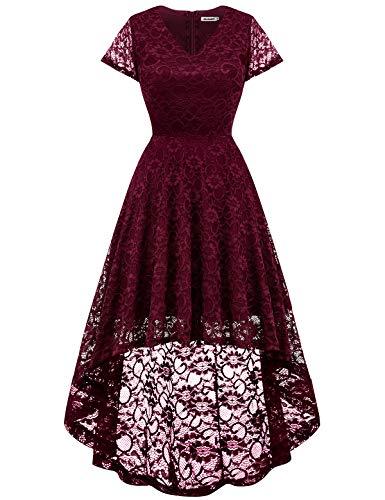 Bbonlinedress Damen Vintage Vokuhila Spitzen Kurzarm Unregelmässig Brautjungfern Abendkleider Burgundy M