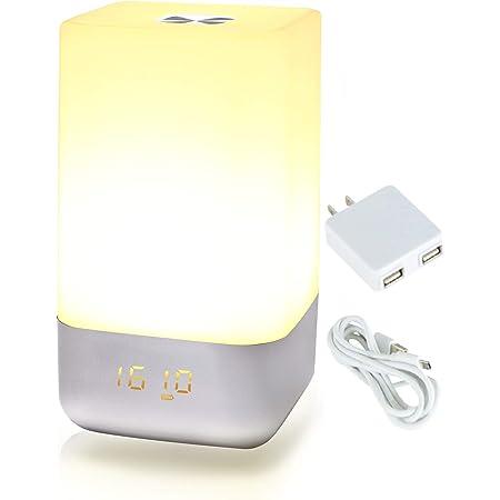 UENO-mono 目覚まし時計 光 デジタル おしゃれ 小型 ボーッとしない 光目覚まし ASASUN 間接照明 LED ベッドサイドランプ USB 充電 2ポート 電源アダプタ付き 授乳ライト