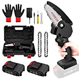 ZNP Mini Chainsaw Battery Power Chainsaw, 4-Inch Small Cordless Electric Chain Saws, One-Hand Cordless Saw for Garden Tree Trimming Branch Wood Cutting(2Pcs Batteries)