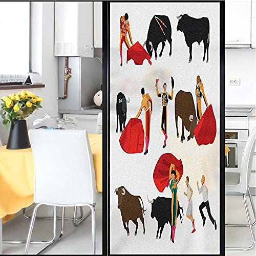 Spanish Pattern Window Film,Bullfighting Corrida People Crowd Matadors with Bulls Red Cape Pidacor Folk Kitchen Curtains Film,for Home Office Removable,35.4' x 78.7' Multicolor