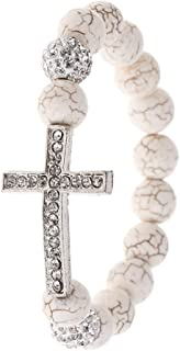 Dfsdmlp Cross Pendant Beading Bracelet Bangle Elastic Natural Stones Beads Charms Men Women Jewelry