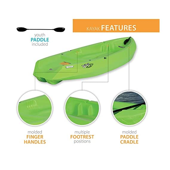 Lifetime Youth Wave Kayak with Paddle, 6 Feet, Green 3 Specifically designed for kids ages 5 and up; 130 LB weight capacity Lightweight 18 Lb. design with molded finger handles on each side for easy transport Sloped at the end with a swim-up step allowing rider to easily re-enter the kayak from the water