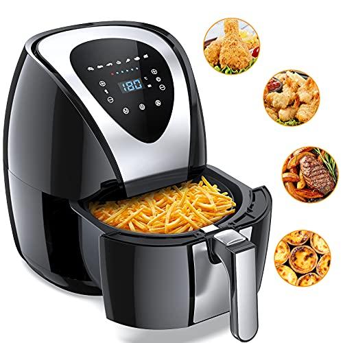 Heißluftfritteuse Set XL Luftfritteuse mit 7 Voreingestellten Menüs, 4.5L Kapazität 1400W Heissluft Fritteuse ohne Fett und Öl, Mit GS-Zertifikat und Rezepte auf Deutsch Hot Air Fryer (Touch)