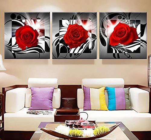 LLXXD Impresión de Lienzo Moderno Cuadros de Arte de Rosas Pinturas para la Cocina Póster en la Pared Impresión de Flores tríptico Decoración para el hogar 50x50cmx3 (sin Marco)