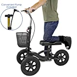 Clevr All Terrain Medical Foldable Steerable Knee Walker Scooter for Foot Injuries with Deluxe Brake System, Basket & Suspension, Alternative to Crutches, Black