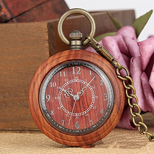 shandianniao Wood Watch Reloj de Bolsillo de Cuarzo Ebony Walnut Cadena de Madera Cara Abierta Reloj Ligero para Hombres Mujeres (Color : Red)