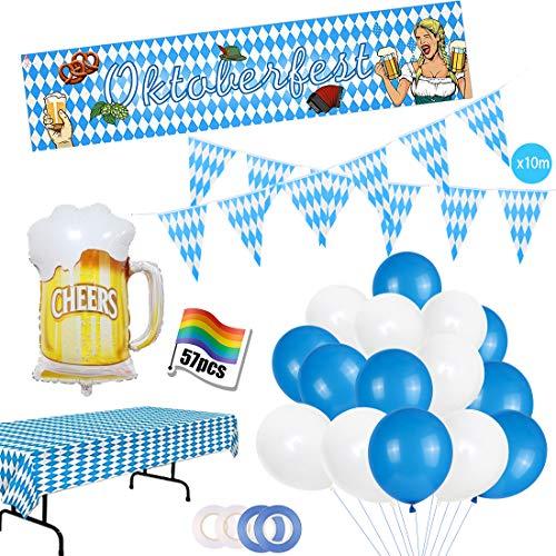 Oktoberfest Deko Set,XXL Oktoberfest Ballon Dekoration,Bayrisch Wiesn Dekoration,Bayrische Deko Set mit Tischdecke,Oktoberfest Banner,Bayern Wimpel Girlande,Weiß und Blau Luftballon,Wiesen Party Deko