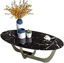 HTTXCJ Table with Shelf Unique Shape Coffee Table, Black Pattern Marble + Metal High Temperature Paint Frame, Living Room ...