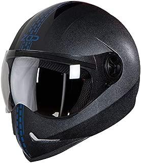 Steelbird SB-50 Adonis Zap Dashing Full Face Helmet Black with Blue (Large 600 MM, Plain Visor)