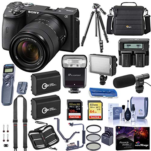 Sony Alpha a6600 Mirrorless Camera with 18-135mm Lens - Bundle with Camera Case, 128GB /64 SDXC Memory Cards, 2X Batteries,...
