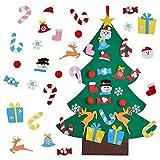 JLD Árbol de Navidad de Fieltro, El árbol de Navidad del Fieltro de los 3FT DIY fijó,Arbol Navidad Fieltro, Decoración Navidad para Paredes y Puertas del hogar (3FT)