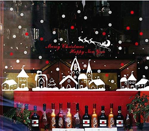 heekpek Fensterbilder von Weihnachtsmann für Weihnachten Vitrine Dekoration Fensterdeko Set Selbstklebend Abnehmbare PVC Aufkleber Winter Dekoration (A)