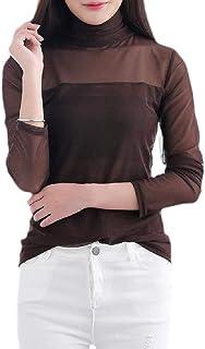 GAGA Women Comfy Muslim Long Sleeve Turtleneck Gauze Pure Color Tops T Shirt