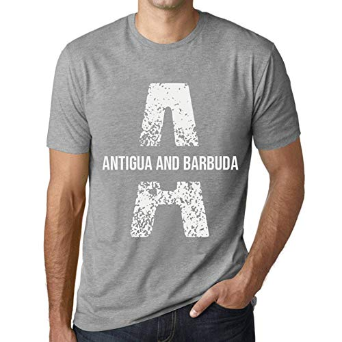 One in the City Hombre Camiseta Vintage T-Shirt Letter A Countries and Cities Antigua and Barbuda Gris Moteado