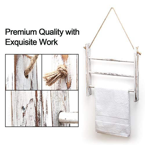 Ladder Hand Towel Rack for Bathroom, Blanket Ladders for The Living Room Hanging Blanket Ladder Rustic Decorative Ladder for Blankets Whitewashed Towel Ladder