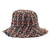 AOQW Sombrero De Cubo De Tweed A Cuadros Lentejuelas Femeninas Señoras Niñas Bordes Chicas Sombrero De Pescador Aplicar A La Pesca Camping Senderismo Caza Paseos En Bote Etc-Naranja
