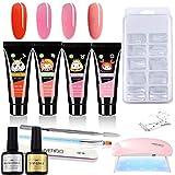 Juego de manicura de gel de uñas con 4 colores de gel UV, 100 extensiones de uñas, mini lámparas UV, kit completo para principiantes