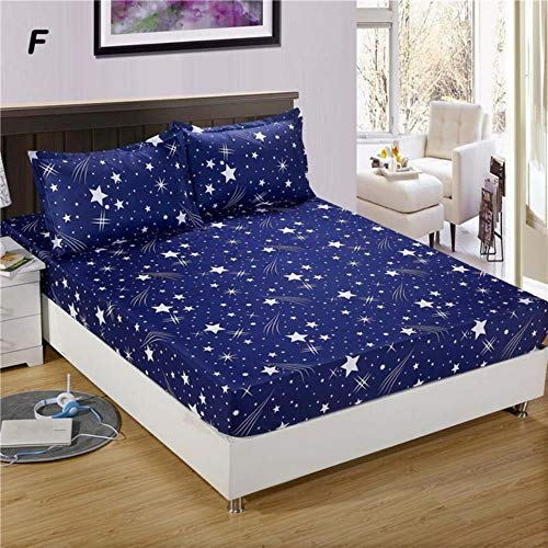 WTMLK 3pc Bed Sheet with Pillowcase Geometric Printed Fitted Sheet With Elastic Bed Linen Polyester Mattress Cover Queen Size,type 13,only 2pcs pillowcase